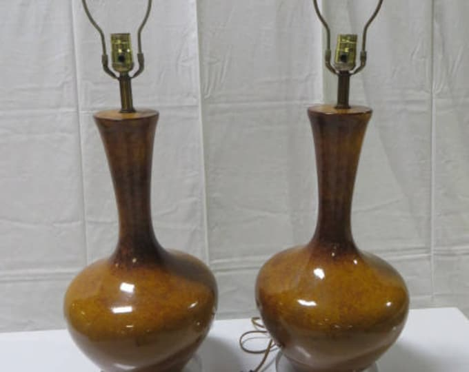 Mid-Century Orange with Gold infused Glazed Pair of Lamps with Lucite Base Rewired