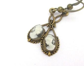 Cameo Earrings, Dainty Earrings, Victorian Cameo Earrings, Bridal Wedding Jewelry, Art Deco Wedding, Art Nouveau Earrings, Hawaii Beads