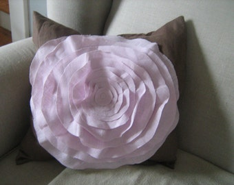 NEW ITEM French Rose Pillow in Chocolate and Pink Linen