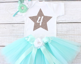 Four Year Old Birthday Outfit. Birthday Outfit 4. Fourth Birthday Outfit. Girls Birthday Tutu Outfit. 4th Birthday Outfit. T03 4BD (AQUA)