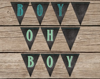 Baby Boy Baby Shower Banner, Chalkboard Pendant Banner, Baby Shower Decor, Triangle Banner, Matching Baby Shower Decoration, Green, Teal