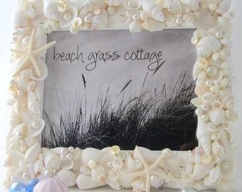 Seashell Frame, Beach Wedding White Shell Frame, Beach Wedding Gift, Seashell Wedding Frame, 5x7