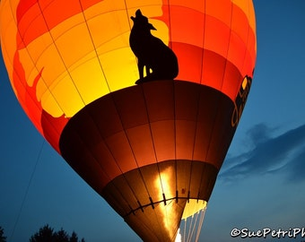Hot Air Balloon Photograph, 8x10 or any size, Ballooning Photos, Color Photography, Night Photography, Balloon Festival Photos, Howling Wolf