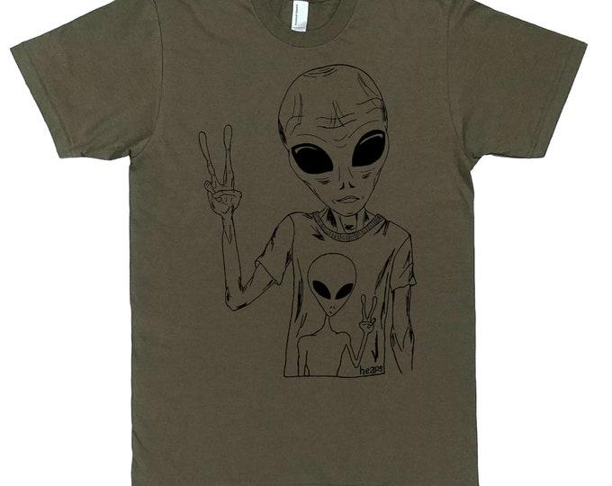 Mens Alien Tshirt - Army Green Sci Fi T Shirts - Boyfriend Tshirt - Space Tee Shirts - Science Fiction Shirt - Aliens Tee - Man Funny Tshirt