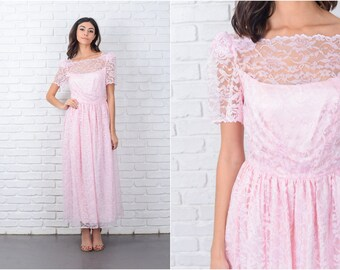 Vintage 70s Pink Boho Hippie Lace Dress Puff Sleeve Floral Maxi XS 7145