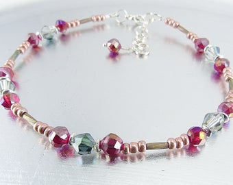 Beaded Ankle Bracelet - Fuchsia, Crystal and Silver Glass Anklet
