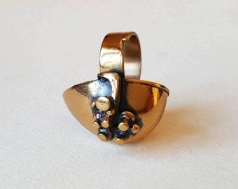 Jorma Laine - Monumental vintage bronze ring, Turun Hopea, Finland, 1970s (F836)