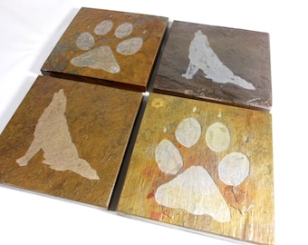 Wolf Coasters - Natural Stone Coasters Set Etched Slate Coasters, Animal Coasters, Wolf Lover Gift, Rustic Cabin Decor, Howling Wolf Tracks