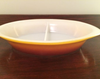 Vintage Pyrex Ovenware Divided Dish, Brown - Orange - Yellow Graduated Colours