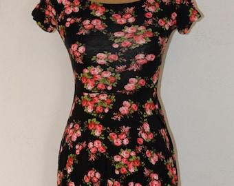 Vintage 90's Floral Print Dress From Monteau Los Angeles