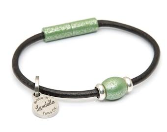 Leather Magnetic Landella Single Grasshopper Green Dome Bead Bracelet