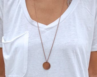 Customized Copper, Long Circle Necklace