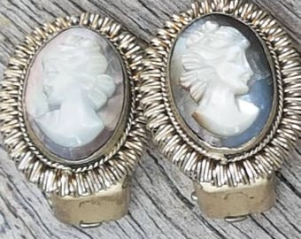 Vintage Mother Of Pearl Cameo Clip On Earrings,  Carved Shell Cameo , Gifts For Her