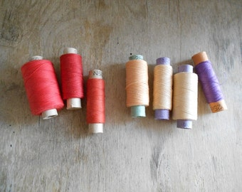 Vintage Sewing Thread Spools / Set of 7 / Shades of Red and Peach / Soviet Union Cotton Threads