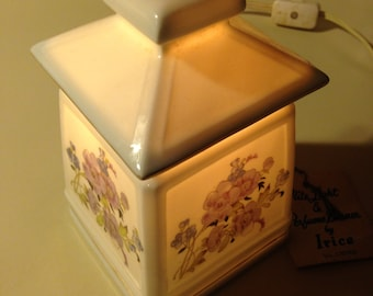 Vintage IRICE Night Light with Oil Burner Floral Design Square Japanese House