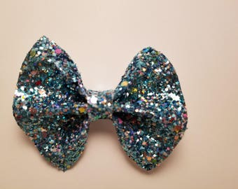 Mini Blue Sparkly  Faux Leather Hair Bow
