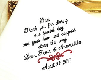 Wedding Handkerchief-Father of the Groom-Father of the Bride-Handkerchief-Hankerchief-Wedding Hankerchief-Wedding Hankies-SPECIAL DAY
