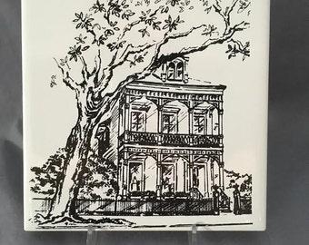 New Orleans Mansion on St. Charles Avenue 6' x 6' Porcelain Tile Trivet