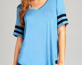 Ladies fashion short double stripe sleeve v-neck rayon spandex top