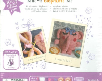 """2000s Knit-It Elephant Kit for Beginning Knitters 6-12 yrs 6"""" H x 3.5"""" W - The Little Experience Kit"""