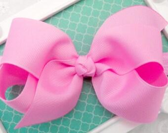 "Pink Bow Headband Pink Easter Baby Headband Bubblegum Pink Bow Headband Bright Pink Bow Headband Newborn Infant Toddler-Medium 4"" Bow"