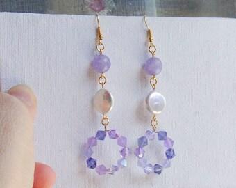 golden chandelier earrings, long dangle earrings, lilac crystals and agate earrings, pearl earrings, statement earrings, shoulder brusher