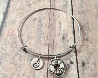 Life ring initial bangle - life ring jewelry, boating bangle, lifeguard jewelry, nautical bracelet, lifeguard gift, sailing jewelry