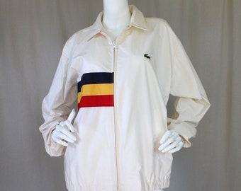Vintage Izod Lacoste Lightweight Cotton Ivory Jacket / Navy Blue Yellow Red / Men's & Women's / Slouchy Fit | Medium or Large