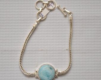 Sterling Silver Round Larimar Bracelet #8946