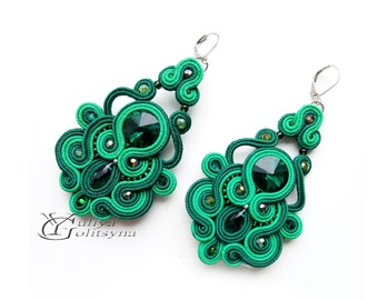 Soutache earrings Green Earrings Dangle Soutache earrings Crystal green jewelry earrings chandelier