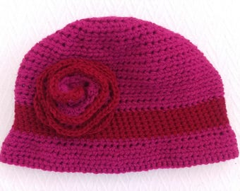 Rose Red cloche hat with stunning floral embellishment