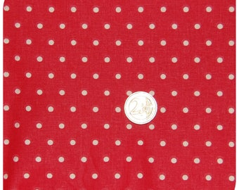 Cotton fabric coupon dots, polka dots white background red 60 x 80 cm