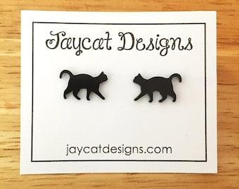 Black Cat Earrings, Cat Earrings, Cat Silhouette Stud Earrings