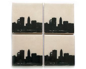 Cleveland Skyline Coaster Set (4 Stone Coasters, Black & White) Cityscape Home Decor, Ohio Gift
