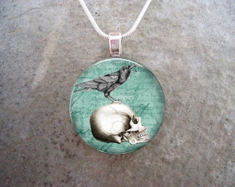 Crow Jewelry - Bird Jewellery - Glass Pendant Necklace - Raven 16