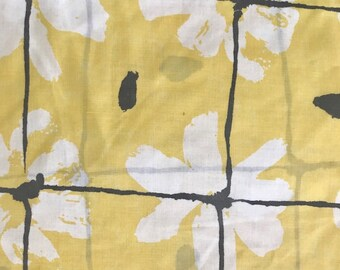 SALE - Pair of pillowcases - Standard - retro Yellow/Black accents - floral shabby chic vintage