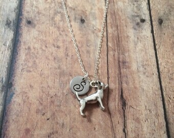 Chihuahua initial necklace - chihuahua jewelry, dog necklace, dog breed jewelry, gift for dog lover, silver chihuahua necklace