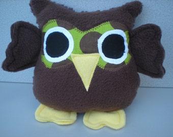 Stuffed owl, child friendly toy – owl plush - softie stuffed toy owl - gift idea for boy girl - brown owl fluffy