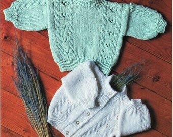 """baby cable cardigan sweater knitting pattern pdf baby jacket jumper 16-22"""" cotton DK light wortsed 8ply pdf instant download"""