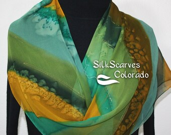 Chiffon Silk Scarf Green Brown Hand Painted Scarf MOUNTAIN DAWN, Offered in Several SIZES. Silk Scarves Colorado. Handmade Christmas Gift