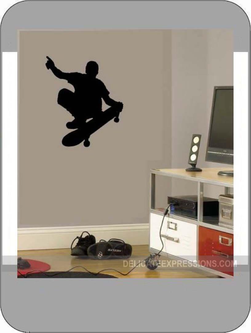 Skateboard Vinyl Wall Decal Boys Sports Athletic boys Bedroom Wall Decal Skateboard Silhouette Skateboard Wall Decals boys bedroom decal & Skateboard Vinyl Wall Decal Boys Sports Athletic boys Bedroom Wall ...