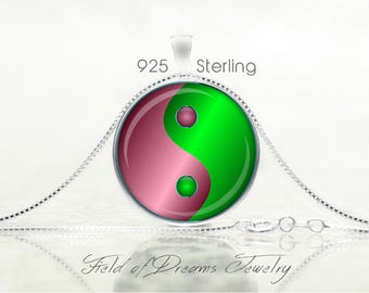 MODERN YIN YANG Pendant Yin Yang Jewelry Yin Yang Necklace Yin Yang Yoga Jewelry Yoga Gift Sterling  Necklace Buddhist Necklace Green Gift