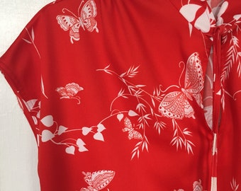 Vintage Shirt Sleeveless blouse 70s red butterflies by Mardi Modes
