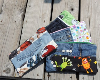 ecofriendly pencil case made with uycycled kid's pants