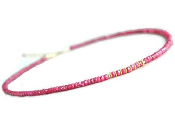Ruby necklace, gold ruby necklace, genuine ruby jewelry, handmade jewelry, gift for her
