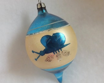 Vintage Christmas blue glass ornament teardrop butterfly hand painted in Poland
