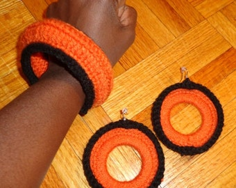 Black Citrus, Crochet Earrings and Bracelet Set