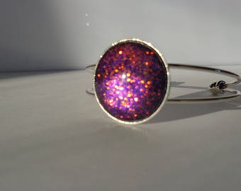 Bracelet stiff purple painted cabochon glitter color changing