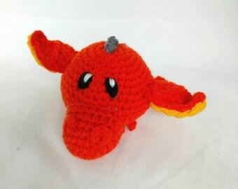 Orange Dragon Stuffed Animal - Mini Dragon - Hatchling - Orange w Orange Wings - Plush Toy - Machine Washable - Baby Shower Gift - Unisex
