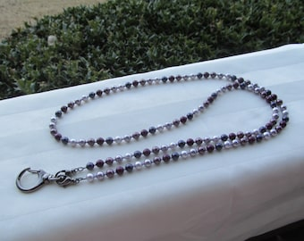 Purple ID Badge Lanyard Swarovski Pearl Beaded Lanyard Necklace ID Badge Holder